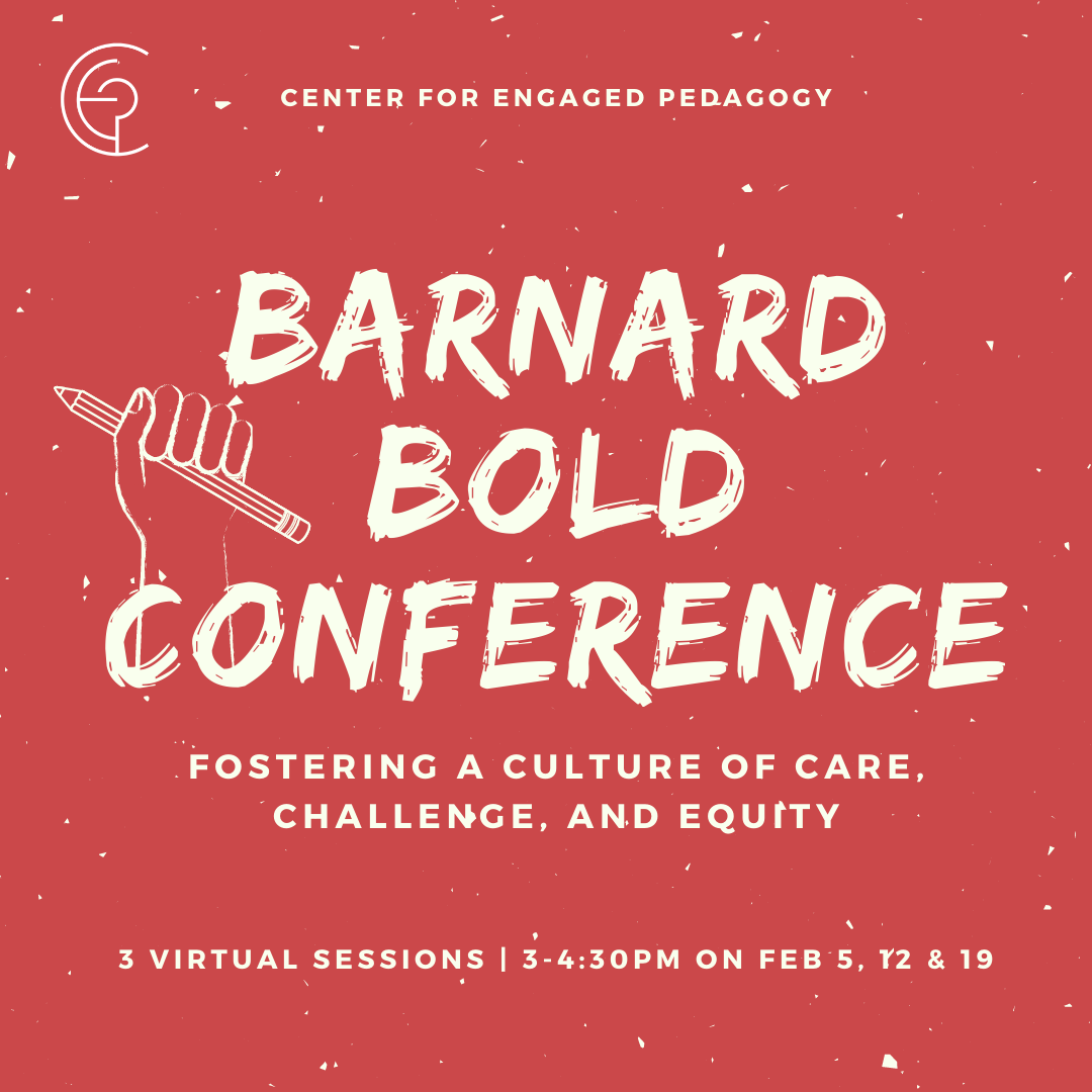 "fist holding a pencil with text: ""Barnard Bold Conference"""